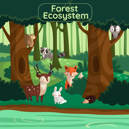 concept of ecosystem among forest vector illustration Vectores