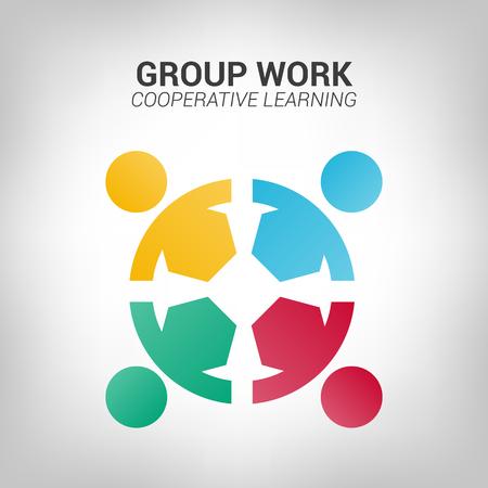 Logotipo de personas de trabajo en equipo. Ilustración de diseño vectorial