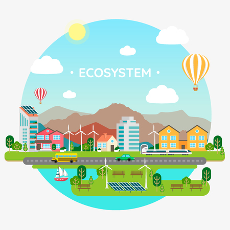 concept of ecosystem among people vector illustration