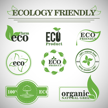 Collection of Green Healthy Organic Natural Eco Bio Food Products Label Stamp. Vektorgrafik