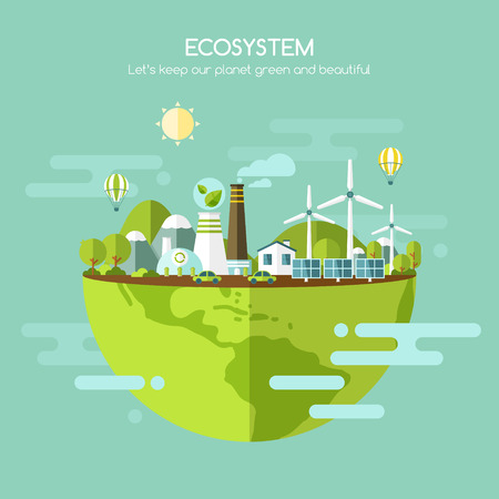 Ecology concept, ecosystem vector illustration Illustration
