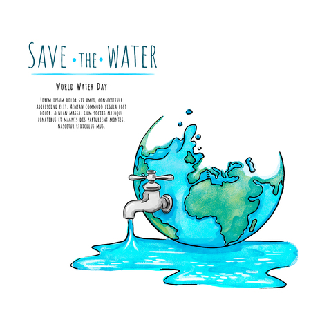 Poster of Earth Planet promoting sustainable management of freshwater and commemorating World Water Day in March 22.