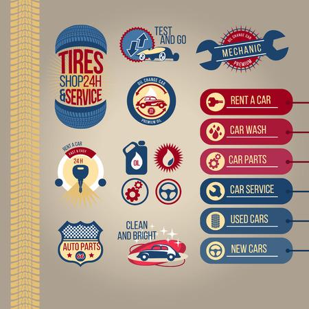 Icons. Car service advertising vector illustration  イラスト・ベクター素材