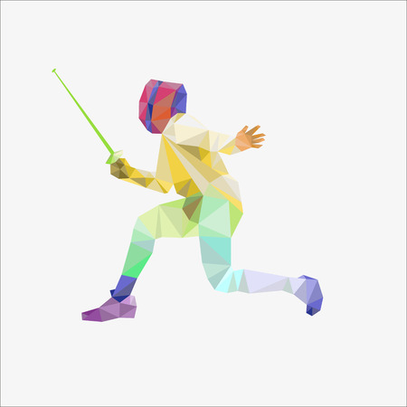fencing sport vector background concept illustration made of polygon fragments isolated on white