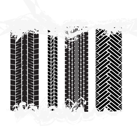 Black Tire Tracks Wheel Car or Transport Set on Road Texture Pattern for Automobile. Vector illustration of Track