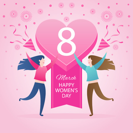 8 de marzo. Día Internacional de la Mujer. Tarjeta de felicitación.