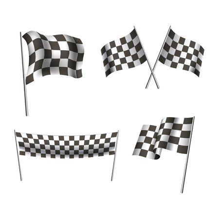 Chequered Flags Motor Racing Stockfoto - 123196379