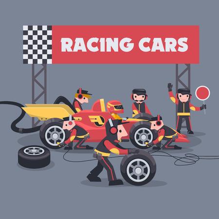 Ilustración colorida con ingenieros y trabajadores de paradas en boxes que mantienen el servicio técnico para un coche de carreras durante el evento de competición