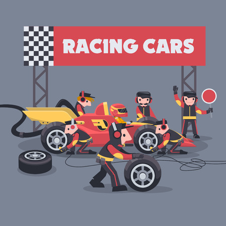 Colorful illustration with pit stop workers and engineers maintaining technical service for a racing car during competition event