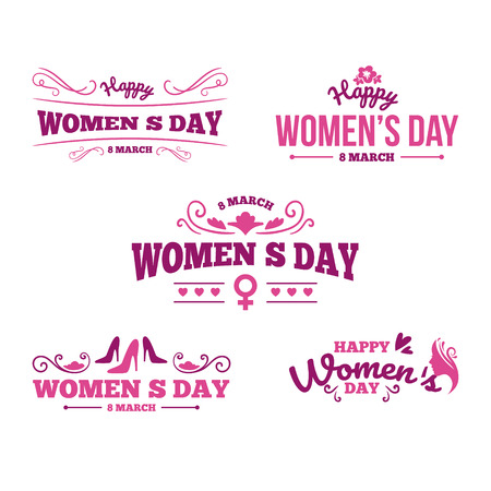 8 March typography set. Womens day. Vector typography, text design. Usable for banners, invitations, greeting cards gifts etc