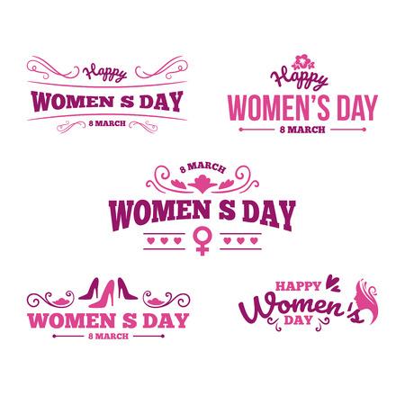 Conjunto de tipografía de 8 de marzo. Dia de la mujer. Tipografía vectorial, diseño de texto. Utilizable para pancartas, invitaciones, tarjetas de felicitación, regalos, etc.