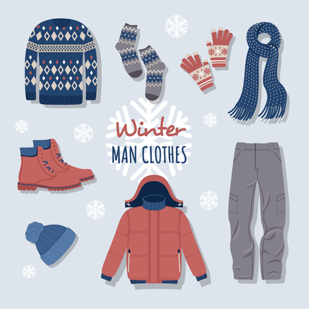 Collection de vêtements d'hiver et de vêtements d'extérieur isolés sur fond clair - pull en laine, cardigan, manteau, bottes de neige, écharpe, chapeau, mitaines. Lot de vêtements de saison. Illustration vectorielle colorée. Vecteurs