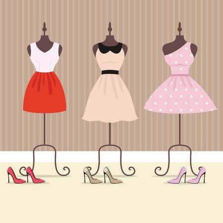 Illustration de mode vectorielle, mannequin de tailleur pour corps féminin, robe de femme sur un cintre