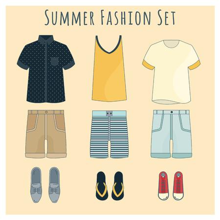 nueva colección de ropa masculina. Tarjeta con armario aislado. Fondo de vector para uso en diseño