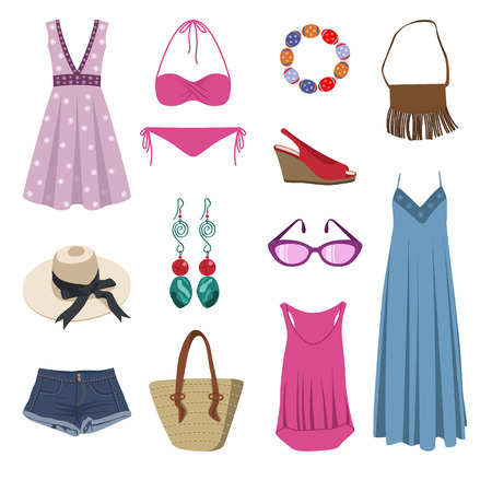 casual outfit - collection of summer clothes - fashion set of woman's summer clothes and accessories Иллюстрация