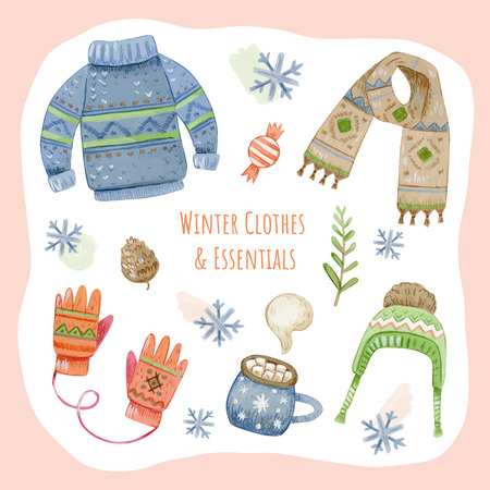 Collection of winter clothes and outerwear isolated on light background - woolen jumper, cardigan, coat, snow boots, scarf, hat, mittens. Bundle of seasonal clothing. Colorful vector illustration. Illustration