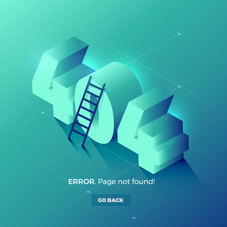 Page with 404 error. 3d isometric vector illustration.