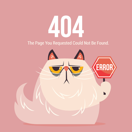 404 error page. OOPS card with cat isolated