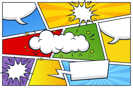 stripverhaal tekstballon en uitdrukkingen sjabloon Vector Illustratie