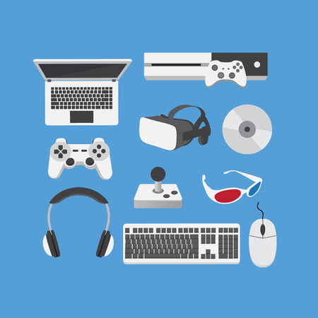 Video Gamer Computer Player Traditional Doodle Icons Sketch flat Design Vector