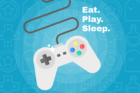 Flat joystick icon. Gaming background