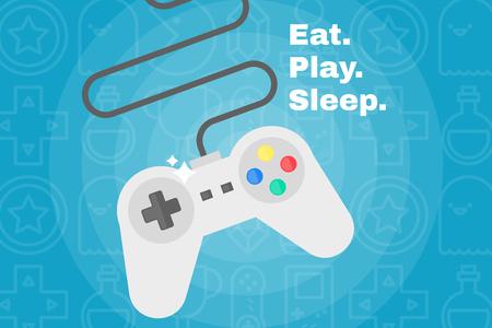 Flat joystick icon. Gaming background