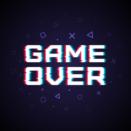 Vector game over phrase in pixel art style with screen glitch VHS effect. Three color half-shifted letters. Retro vintage TV screen. Gamer panel basic platform. Occasional pixels around.