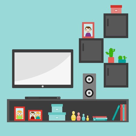 Living room interior design with furniture: sofa, bookcase, tv, lamps. Flat style vector illustration