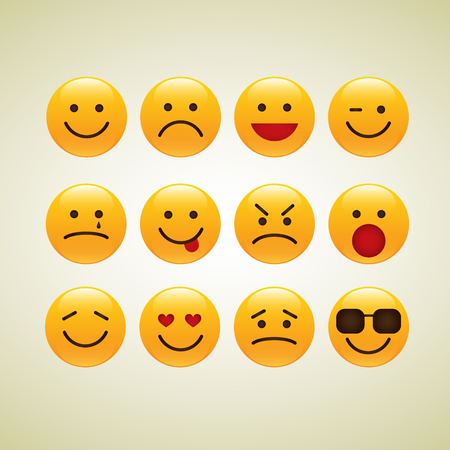 Emoji Vector Set Collection in Modern Style Stock Vector - 121289002