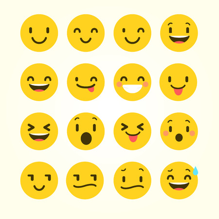 Emoji Vector Set Collection in Modern Style Stock Vector - 121289013