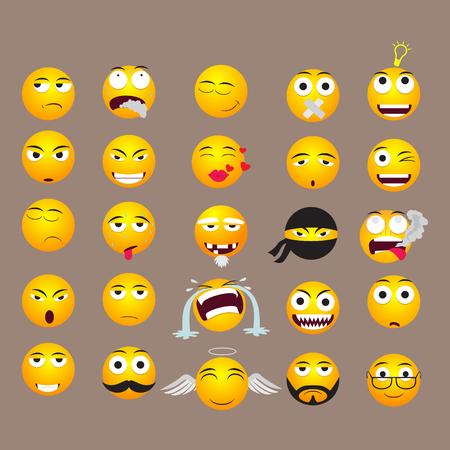 Emoji Vector Set Collection in Modern Style Illustration
