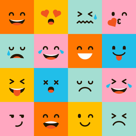 Smile icons. Happy, sad and wink faces symbol. Laughing lol smiley signs. Illustration