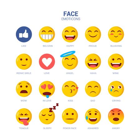 Emoji Vector Set Collection in Modern Style Ilustração