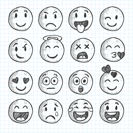 isolated doodle cartoon smiley faces on white background