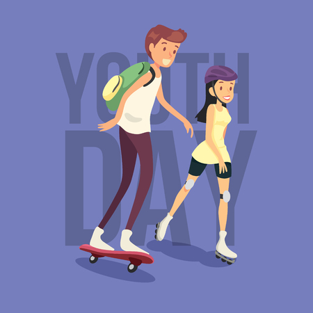 Young boy and girl having fun riding to skateboard. Cool vector hipster kid character riding longboard skateboard. Happy children. Skateboarding day background. Happy Skateboarding day illustration