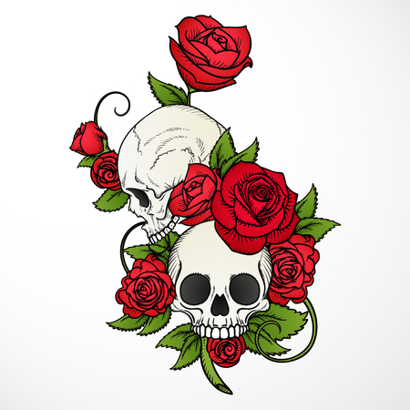 A human skulls with roses on white background Vettoriali