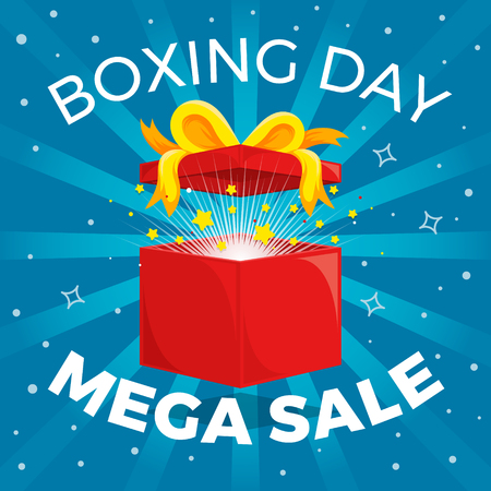 Shining Gift Box with Fireworks. Boxing Day Sale Flyer. Illustration