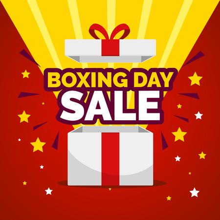 Glänzende Geschenkbox mit Feuerwerk. Weihnachtsfeiertag-Verkaufs-Flyer. Vektorgrafik