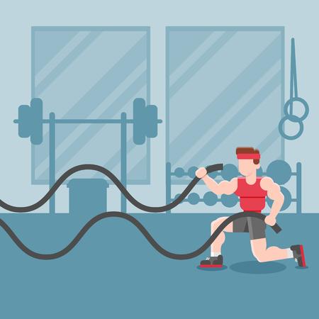 Sport Fitness Man Lifting Weight Exercise Workout Gym Interior Flat Vector Illustration Ilustração