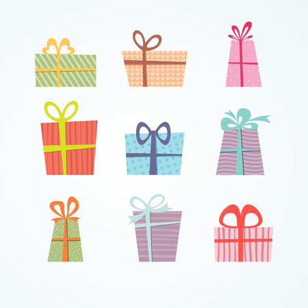 Vector of colorful gift box icons set, Simple flat design isolated on white background Stock Illustratie