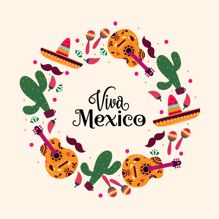 hand drawn colored Mexican elements collection. Independence day, Cinco de mayo celebration, party doodle decorations for your design