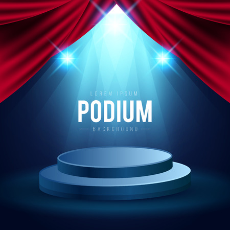Round podium with red carpet and curtain. Empty pedestal for award ceremony. Platform illuminated by spotlights.