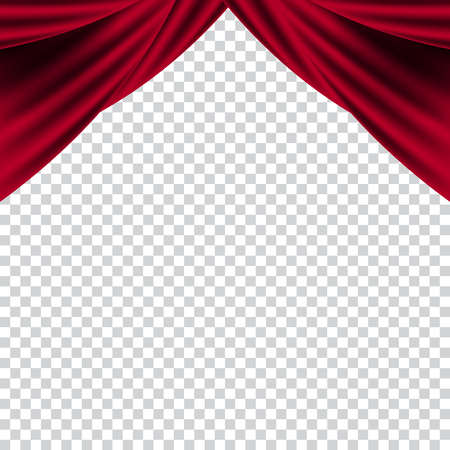 Red curtains theater scene stage backdrop. Vector background concert.
