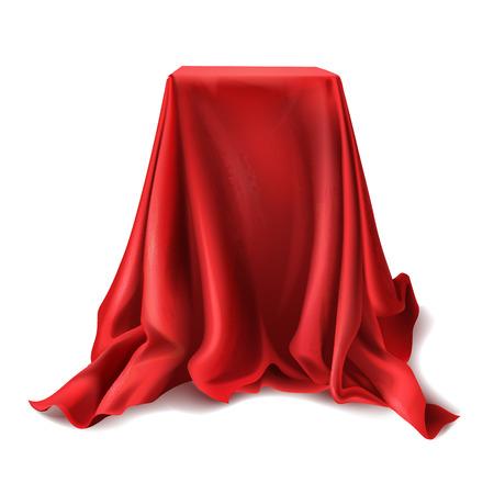 Scatola realistica di vettore ricoperta di panno di seta rosso isolato su priorità bassa bianca. Podio vuoto, stare con la tovaglia per mostrare trucchi magici. Regalo segreto, nascosto sotto il tessuto di raso con drappeggi e pieghe