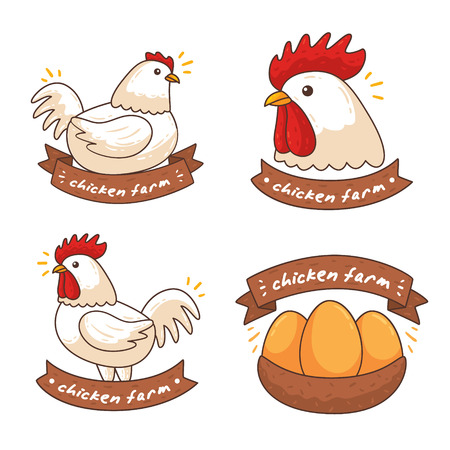 Set chicken icon. Vector illustration. Vettoriali