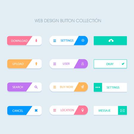 Wektor płaskie przyciski internetowe Ilustracje wektorowe