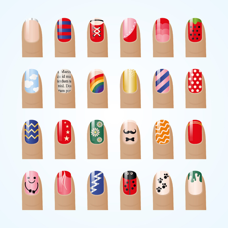 Nail polish palette isolated on white background. Fashion color manicure for beauty studio.