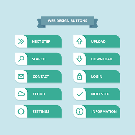 Button set with icons Web Vector Illustration