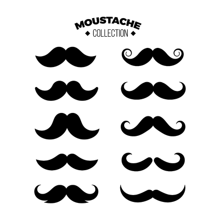 mustache set vector icon, black and White color, modern design