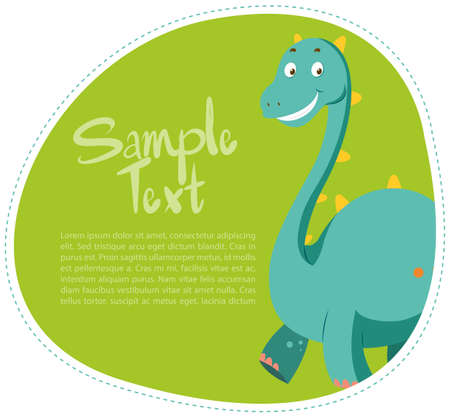 Border design with cute dinosaur illustration